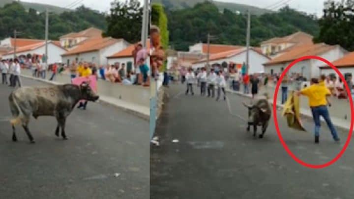 Il met son bébé en danger en participant à un lâcher de taureaux dans les rues.